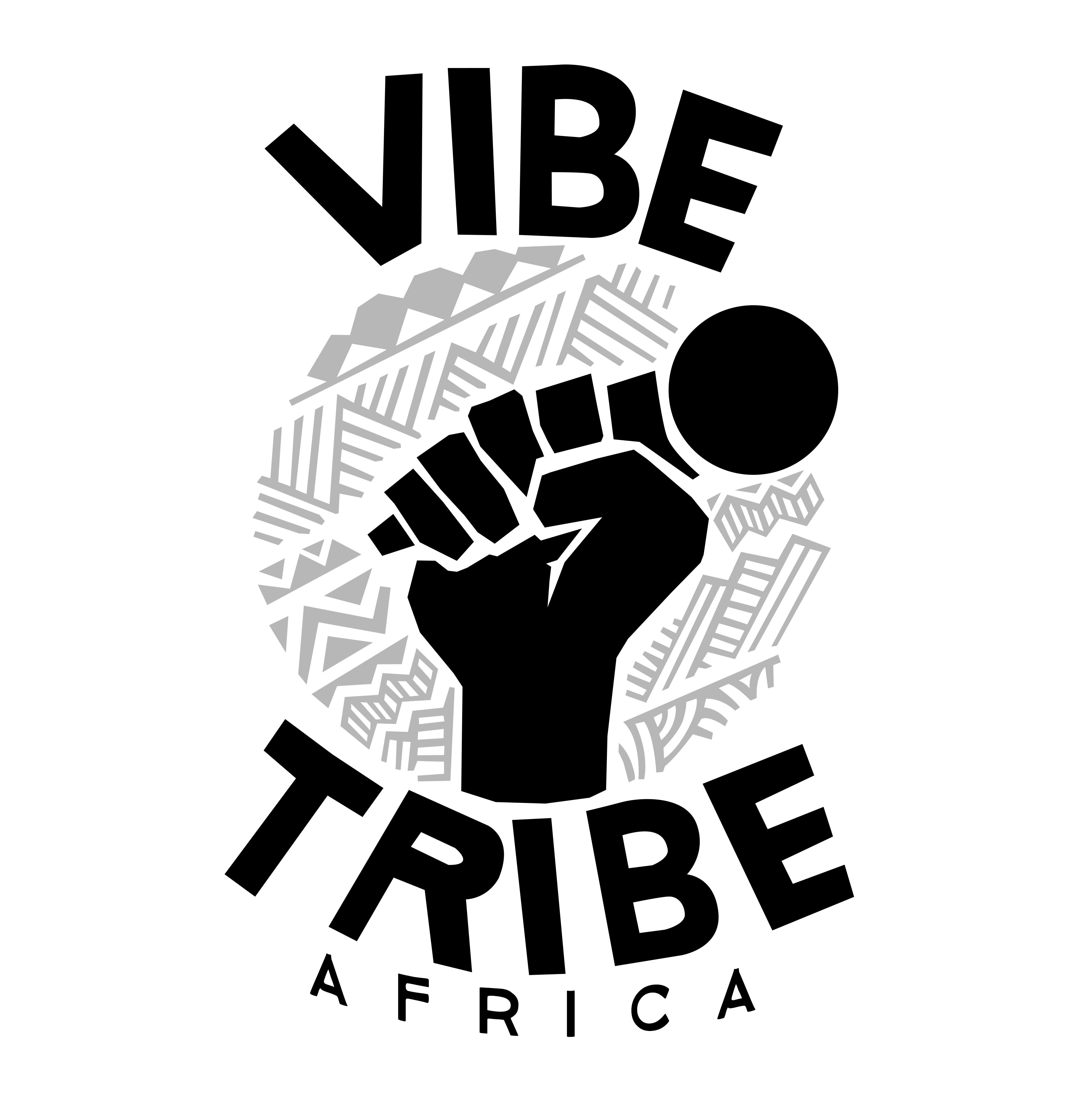 Vibe Tribe Africa logo in black and white