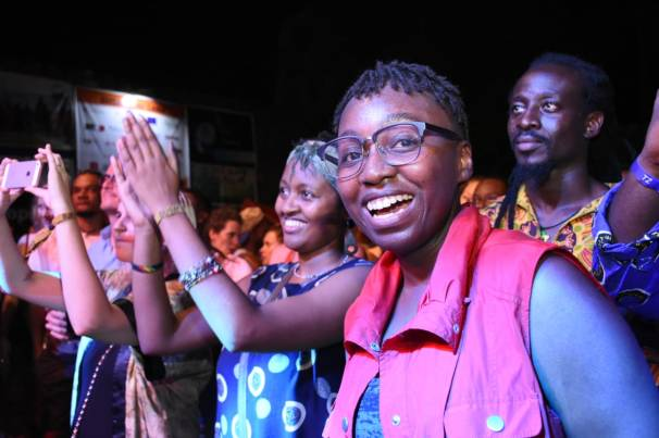 Sauti Za Busara audience cheering musicians on stage