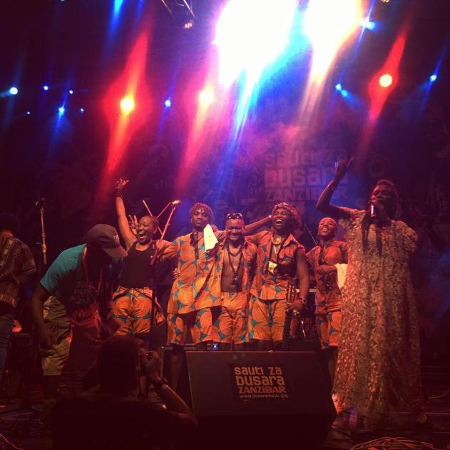 Fadhilee's band bowing after Sauti Za Busara 2019 performing